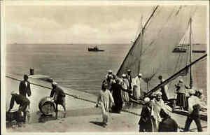 PORT-SAID-Vintage-Post-Card-1920-30-Hafen-Schiff-Verladung-Personen-Transport