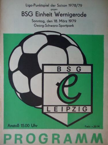 Einheit Wernigerode Programm 1978//79 BSG Chemie Leipzig