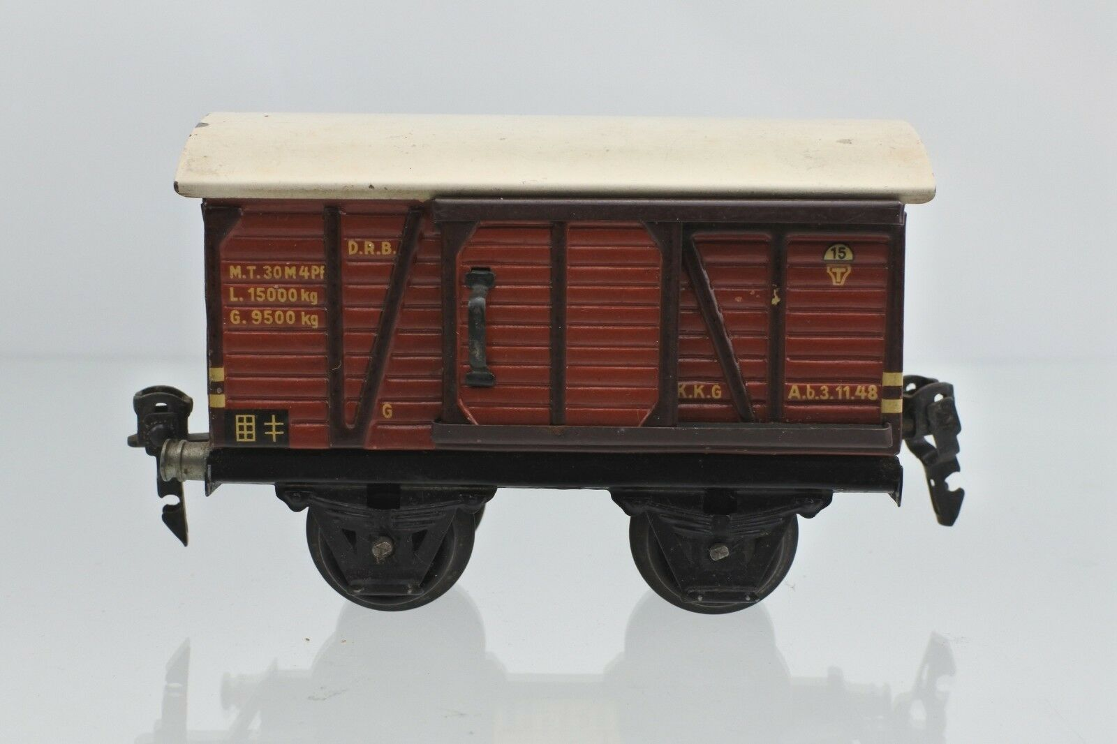 MARKLIN O GAUGE TIN PLATE D.R.B. COVErosso GOODS FREIGHT CAR  15