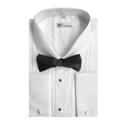 Men/'s Tuxedo Dress Shirt Point Collar and French Cuff with Bow-Tie Set 11B
