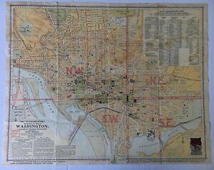 1910 Vintage Foster & Reynolds Reference Map of Washington DC ... on