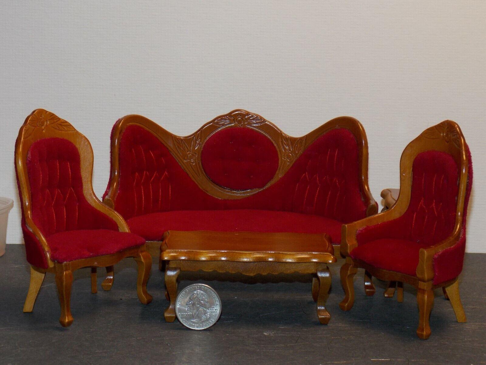 Dollhouse Miniature Victorian Living Room Sofa Chairs Set 1 12 Inch Scale N80