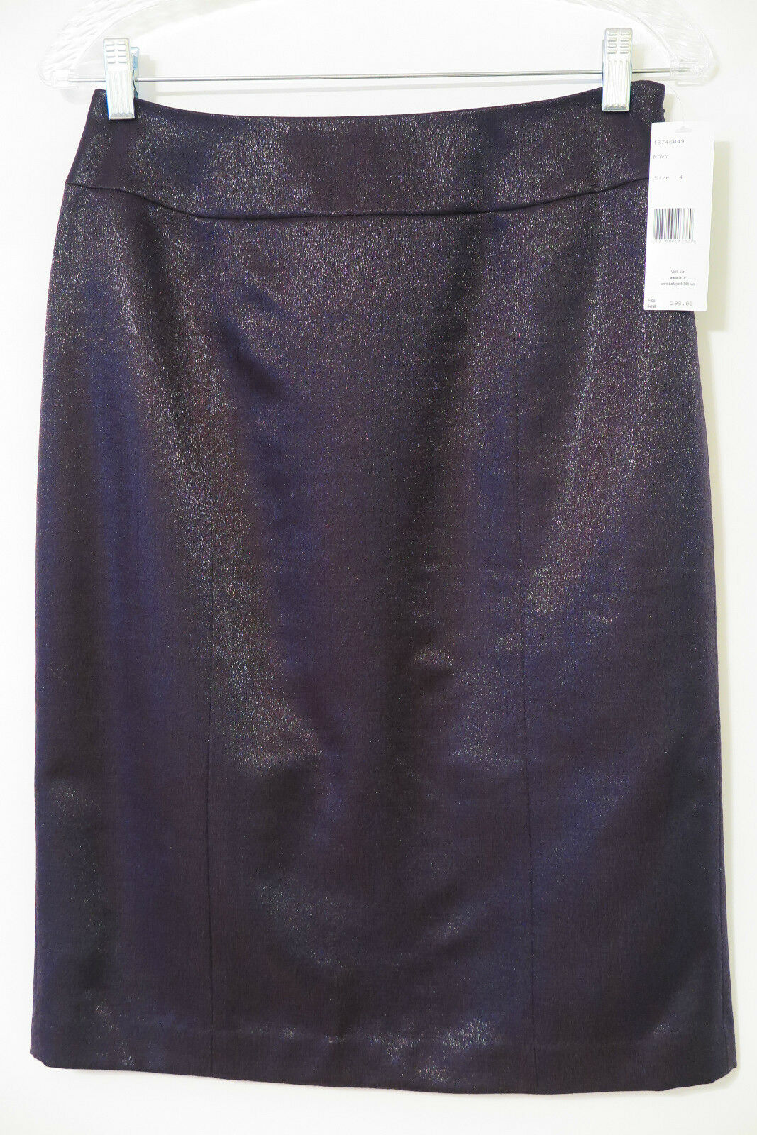 NWT Lafayette 148 Navy Shimmer Wool Blend Straight Skirt Size 4 MSRP  298