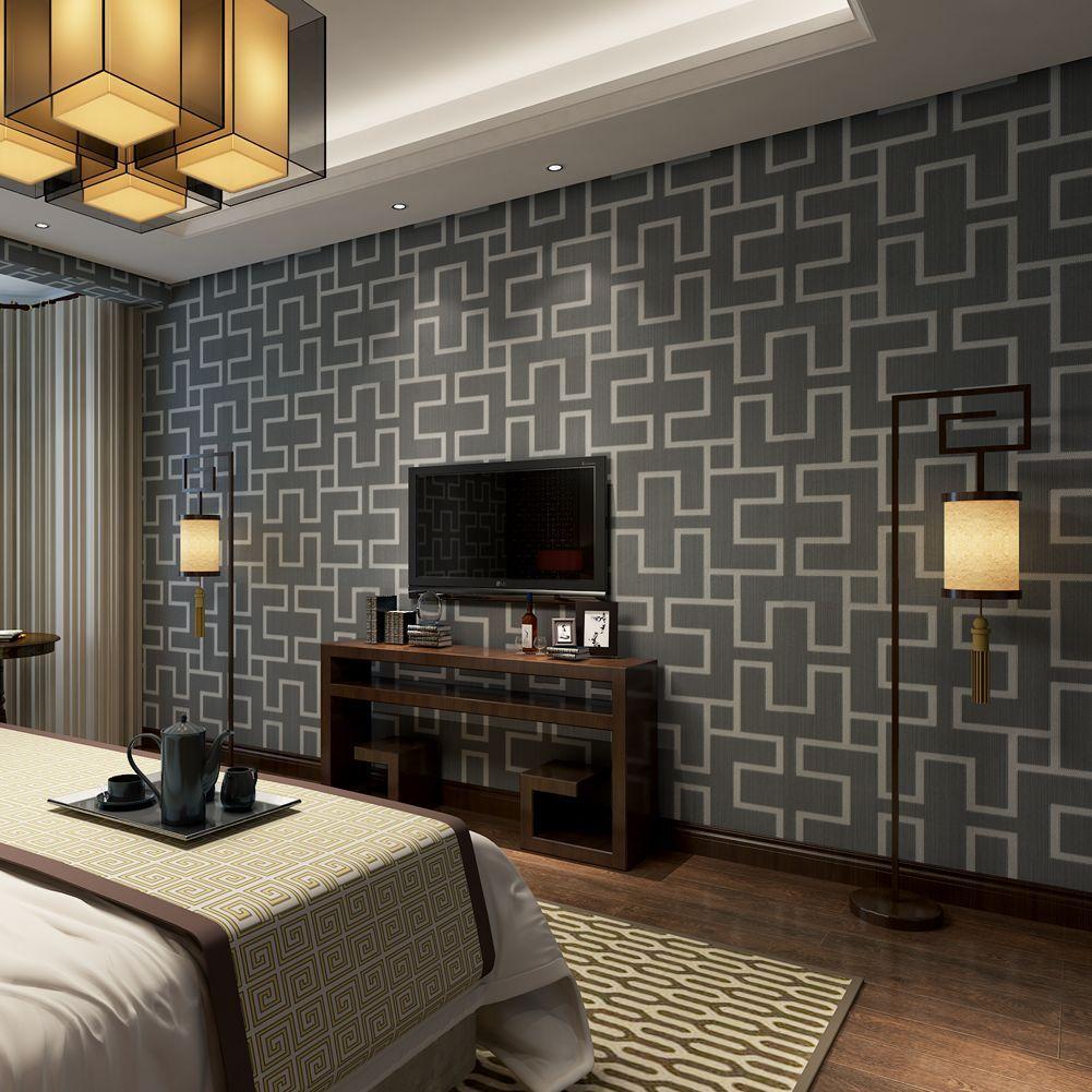 3D Geometric Grid Textured Wallpaper Roll TV Background Living Room Decor 10M