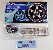 "Aoshima 1/24 SSR Professor SP1 19"" Wheel Rim & Tire Set Plastic Models 5253 (14)"