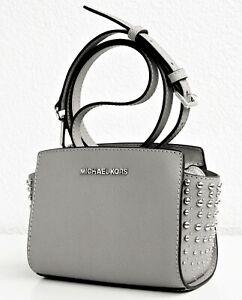 Details about Michael Kors Shoulder Bag Selma Studded Small Messenger Grey Silver New