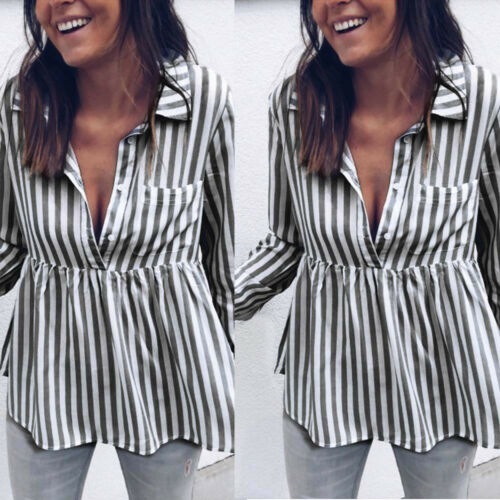 Ladies Womens Summer Soft Striped T Shirt Loose OL Long Sleeve Tops Blouse