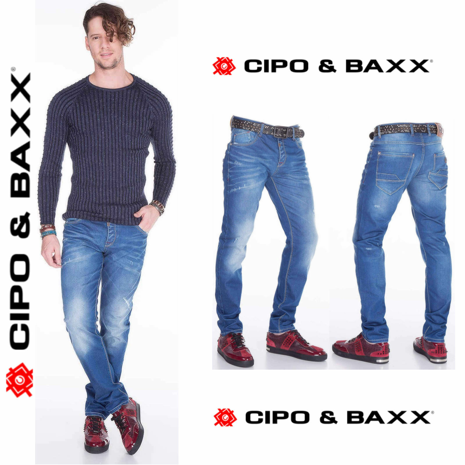 Cipo & Baxx Jeans Uomo cd386 Nuovo Pantaloni Slim fit Stretto Gamba Denim Stretch