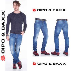 CIPO-amp-BAXX-Herren-Jeans-CD386-NEU-Hose-Slim-Fit-Enges-Bein-Denim-Stretch