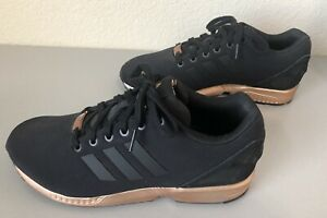 226b93d83 WOMENS ADIDAS ZX FLUX CORE BLACK COPPER ROSE GOLD BRONZE S78977 ...