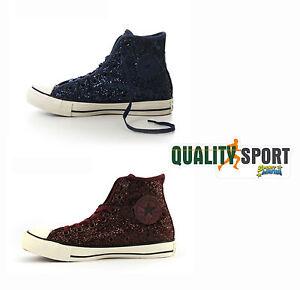 Scarpe Sneakers Converse 555116c Sportive Bordeaux Glitter 555115c Donna Blu CafCq