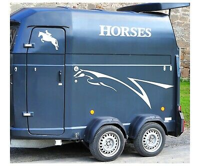 50CM SILVER CAUTION HORSES STICKER DECAL EQUINE TRAILER HORSEBOX HORSE PONY