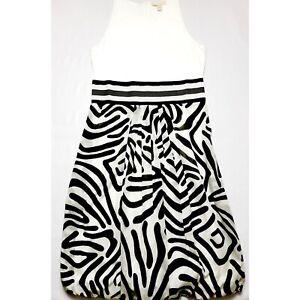 'S Max Mara Zebra Print Bubble Dress White Black Size L