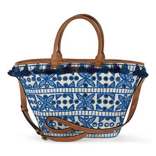 Emilio Pucci Shoulder Bag in Blue Embroidered Canvas