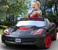 Fisher-price Kids Ride-on Car Power Wheels Red Rims Toy Stingray, Black Corvette
