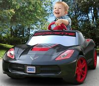 Fisher-price Kids Ride-on Car Power Wheels Red Rims Toy Stingray, Black Corvette