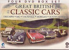 GREAT BRITISH CLASSIC CARS TRIUMPH VAUXHALL MG MORGAN AUSTIN MORRIS NEW 4 DVDSET