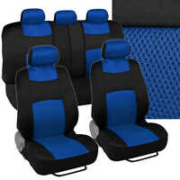9pc Car Seat Covers Blue Split Option Bench - Cool Mesh Accents on sale