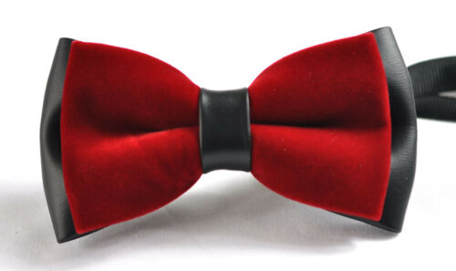 New Mens Fashion 2 Layer Velvet Black Red Shining Bow Tie Bowtie Wedding Party