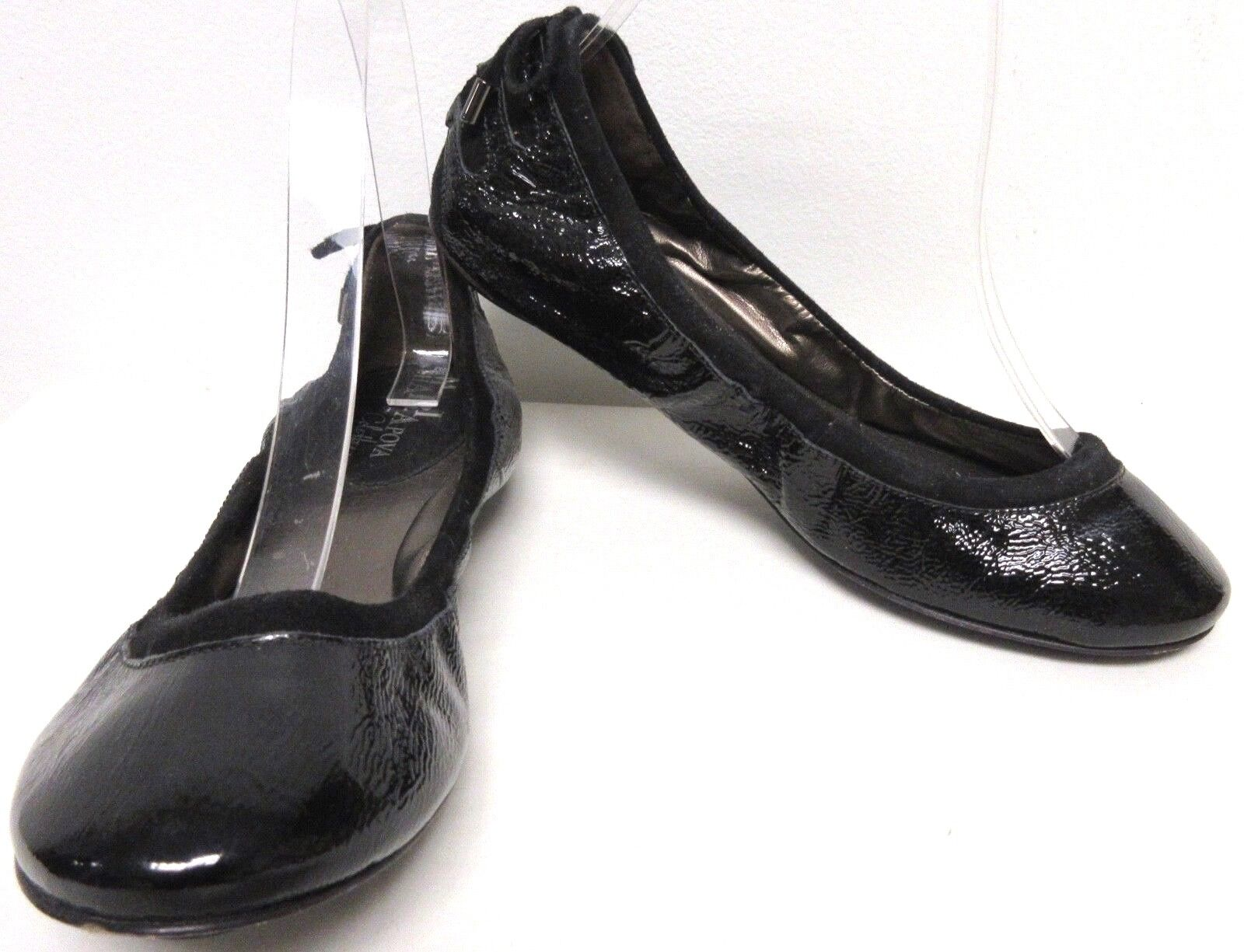 MARIA SHARAPOVA BY COLE HAAN BLACK PATENT LEATHER CORSET HEEL BALLET FLATS SZ 6B