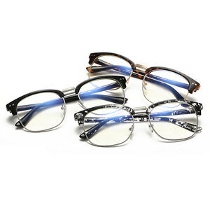 Vintage-Retro-Half-Frame-Anti-radiation-Clear-Lens-Glasses-Nerd-Geek-Eyewear
