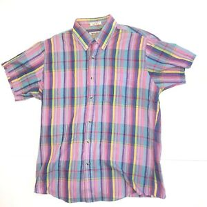 Vtg-Mens-McGregor-Short-Sleeve-Shirt-Multicolor-Plaid-Paper-Thin-Size-Medium