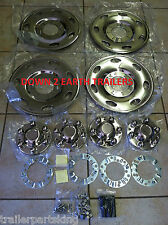 "(4) Phoenix USA 15"" Stainless Trailer Wheel Hub Caps Rim Covers; Bolt On! NST15"
