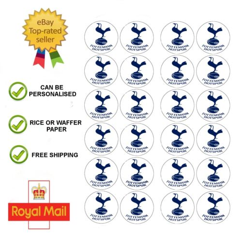 24 x Edible Tottenham Hotspur Edible Wafer / Icing Cup Cake Toppers Birthday