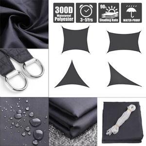 Sun-Shade-Sail-Outdoor-Patio-Top-Canopy-Cover-98-Anti-UV-Waterproof-Black-US