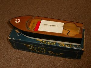 """1950's Lang Craft 11"""" Toy Wood Electric Motor Boat-New/Box-NEW OLD STOCK!!!"""
