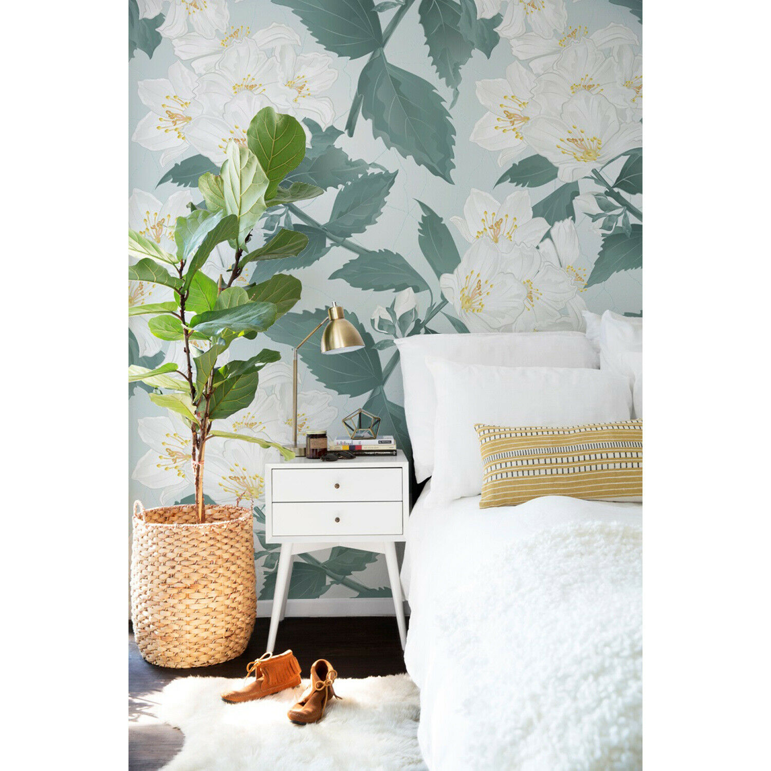 Blooming Flowers floral pastel nature garden still life retro Wall Mural
