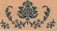 Papermania Signature A Christmas Carol floral design rubber stamp wooden block