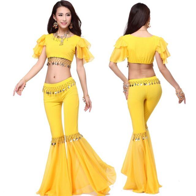 New Elegant Chiffon Blouse with Fishtail Pants 2pcs set Belly Dance Costumes
