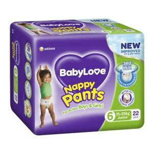 Babylove Unisex Stretchy Junior Nappy Pants 15-25 Kg Size 6 22 pack