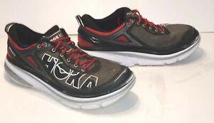 HOKA-One-One-M-Bondi-4-Men-s-11-5-Running-Shoes-Red-on-Black-F10015G-Athletic-VG
