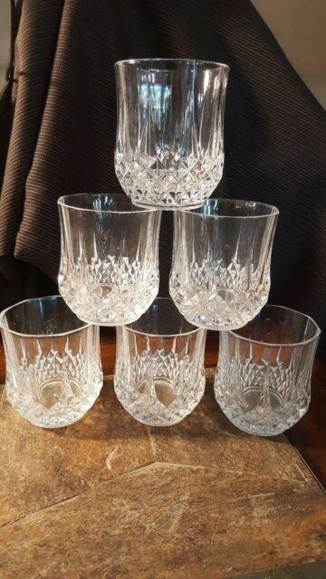 6 Cristal d'Arques Longchamp Double Old Fashioned Glass Tumblers 10 Oz.