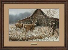 "Rosemary Millette 'Chance Encounter"" SN Buck Deer Farm Print Framed"
