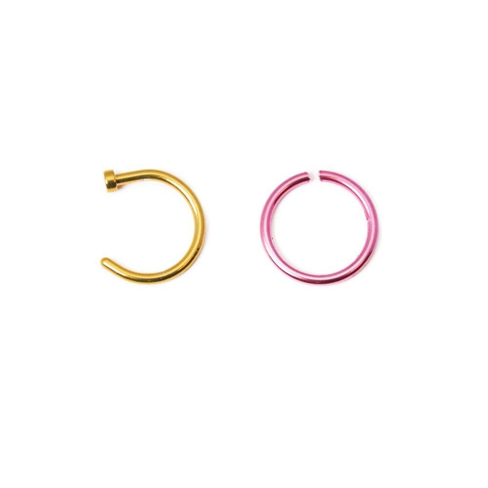 Lot of 2-pc Gold IP Bendable Endless Nose Hoop Cartilage Septum Ring 20G 18G 16G