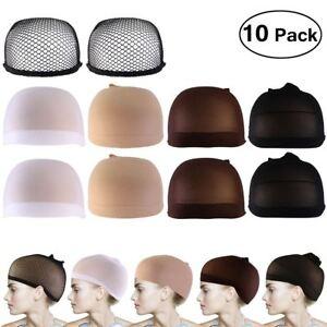 10pcs-Wig-Cap-Wig-Liner-Wig-Stocking-Cap-Black-White-Brown-Beige-Nylon-Stretch