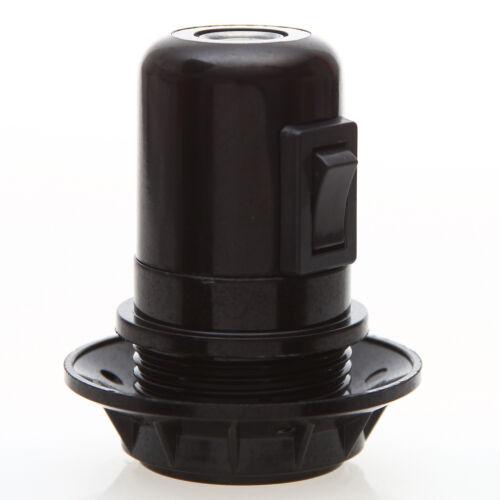 E27 Bakelit Vintage Fassung schwarz mit Teilgewindemantel Wippschalter
