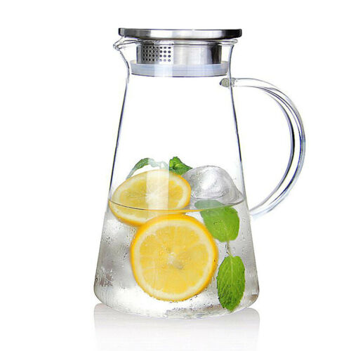 Glass Pitcher Jug with Lid and Drip Free Spout for Water Iced Tea Beverage