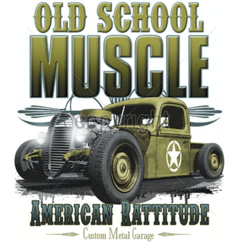 Sweatshirt in weiß mit einem Hot Rod-,US Car /& `50 Stylemotiv Modell Old School