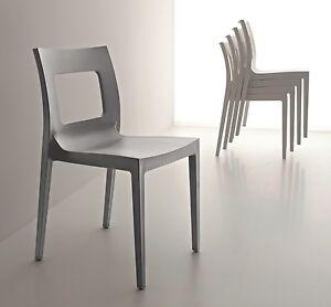4 sedie cucina pn lucy plastica bianco grigio monoscocca for Sedie cucina metallo