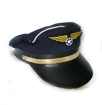 Cotton Pilot Hat Cap Airline Captain Adult Halloween Costume