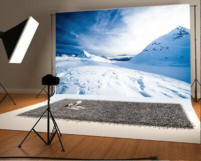 GoEoo 7x5ft Snow Mountains Backdrop for Photography Lake River Nature Landscape Background Outdoor Trip Scenic Photo Studio Props Man Adult Girl Boy Lovers Artistic Portrait Wallpaper