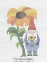 Petitepoint gnome September W/large Flower 18 Mono Canvas