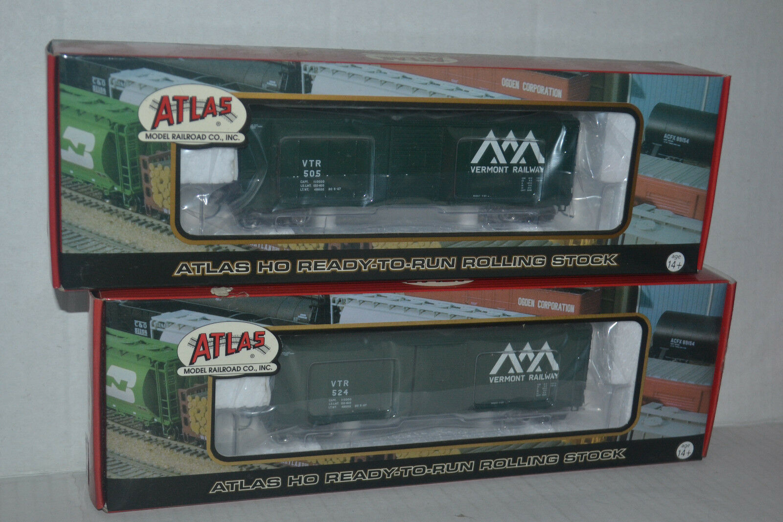 2 Atlas Vermont RailwayUSRA Box Car Ho Scale 6406-1,2