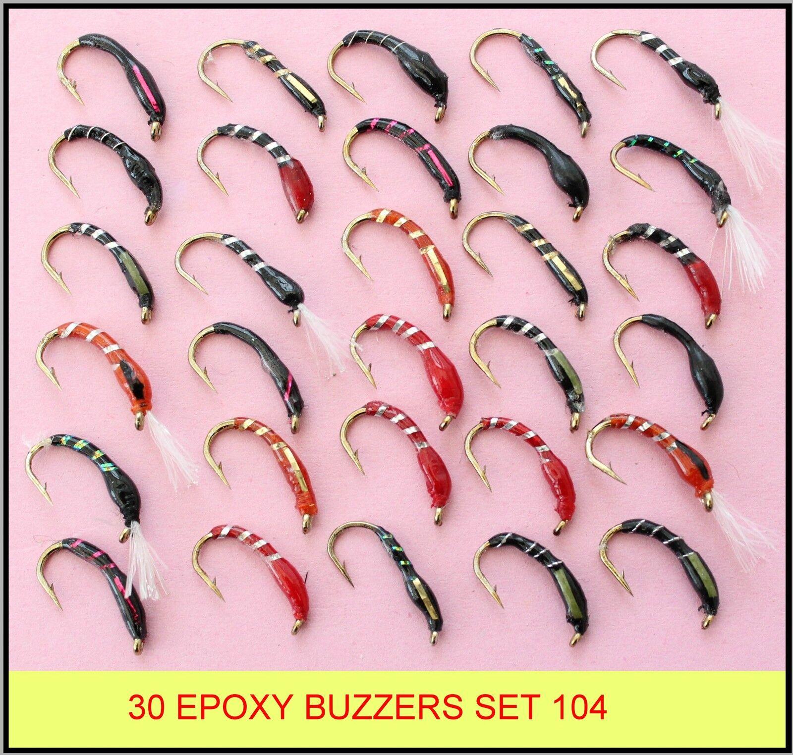 30 Mixte époxy Buzzers Truite Pêche à La Mouche nouveau Mouches nouveau Mouche set 104-HB 1740bf