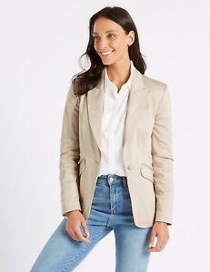 Ex-M-amp-S-Cotton-Rich-Single-Breasted-Blazer-Jacket-Size-6-22-Stone-amp-Navy