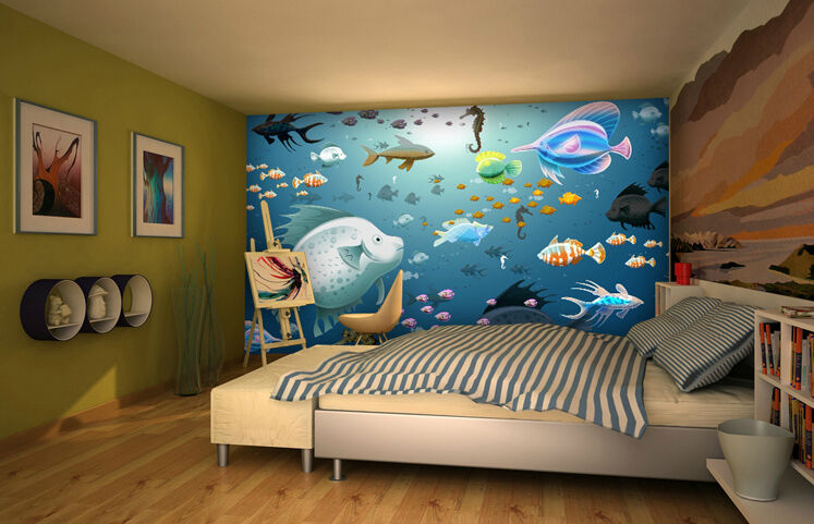 3D Mer Poisson 51 Photo Papier Peint en Autocollant Murale Plafond Chambre Art